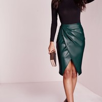 Missguided - Faux Leather Wrap Midi Skirt Teal