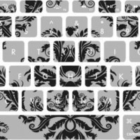 Large Black and White Vintage Wallpaper Macbook Keyboard Stickers