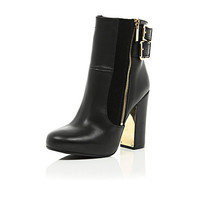 River Island Womens Black leather metal block heel ankle boots