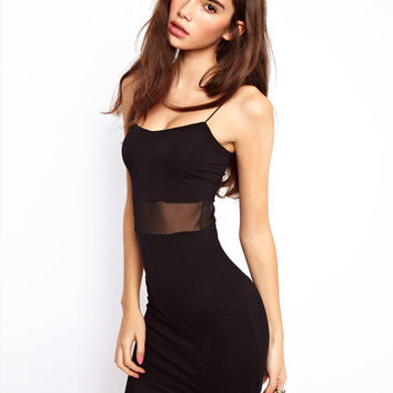 Black Spahetti Strap Waist Mesh Mini Dress
