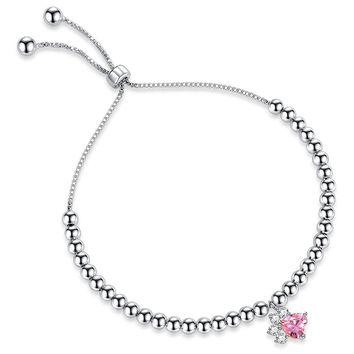 Bead Sliding Knot Adjustable Bracelets For Women With Cat's Paw Rose Crystal Cubic Zircon