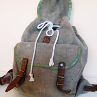 Vintage Military Canvas Backpack, Small Size Green Canvas  Backpack, Leather Straps