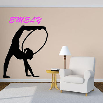 Gymnast Decal, Personalized Gymnast Wall Decal, Gymnastics Decor, Custom Name Girls Room,  Dancing Girl, Ballerina, Kids Art  nm059