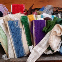 Lot of Vintage Lace Seam Binding Perfect for Card Making Scrap Booking Jewelry Altered Art Wedding Sewing Supply