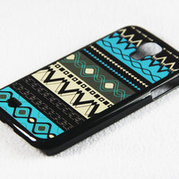 Aztec Tribal Pattern Samsung Galaxy S4 + S3 Rubber Case and S2 NOTE 2 Hard Cover Case