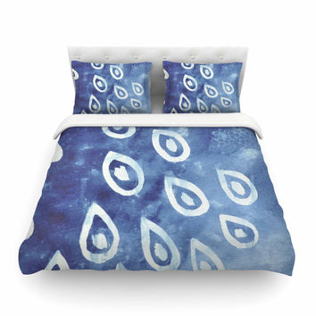 "Jennifer Rizzo ""Drops Of Vintage Indigo"" Blue White Featherweight Duvet Cover"