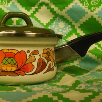Vintage Sanko Ware Porcelain Enameled One Quart Sauce Pan- Price Reduced!