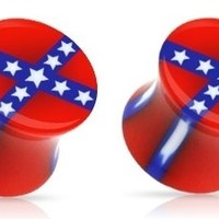 0g Confederate Rebel Flag Acrylic Double Flared Saddle Plugs Gauges Earrings Pair 0 Gauge 8mm Nemesis Body JewelryTM
