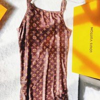 Louis Vuitton LV Fashion Summer Sexy Fashion Print Monogram Straps Sleeveless Dress Women Coffee