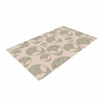 "Alias ""Abducting The Flowers"" Pink Green Woven Area Rug"