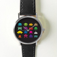 Space Invaders Watch, Video Game Jewelry, Mens Watch, Womens Watch, Space Alien, Watch, Watches, Retro ,Cute, Vintage games, Leather watch