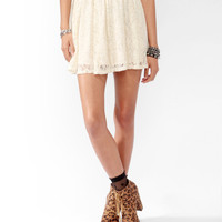 Metallic-Blend Lace Skirt