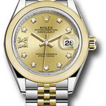 Rolex - Datejust Lady 28 - Stainless Steel and Yellow Gold - Domed Bezel