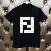 FENDI Fashionable Women Leisure Double F Alphabet Leather Embroidery Short Sleeve T-Shirt Top Black