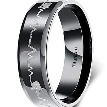 CERTIFIED 6MM Men's Cardiogram Heartbeat Black 316L Titanium Stainless Steel Ring