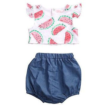 Summer Newborn Baby girls Watermelon Pattern T Shirt + Bloomers Baby Girls Summer Outfits Clothes 0-24M 2Pcs/Set