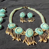 Embroidery Fashion Turquoise Beaded Set of Necklace, Bracelete and Earrings OOAK