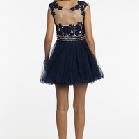 Beaded Illusion Short Dress with Tulle Skirt from Camille La Vie and Group USA