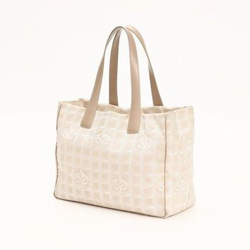 Chanel New Travel Line Tote Bag MM A 15991 Beige Canvas Women''s