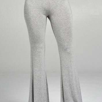 Ladies fashion bell bottom rayon spandex jersey long pants