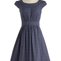 Emily and Fin 50s Long Cap Sleeves A-line Day After Day Dress in Blue Dots