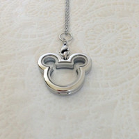 Living locket stainless steel Mickey .... Mickey Mouse Inspired locket