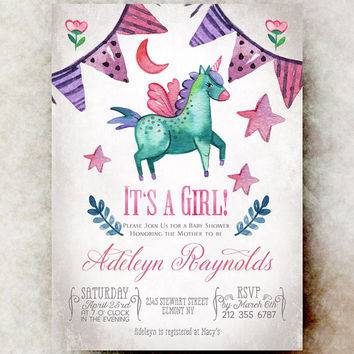 Shop unique baby invitations on wanelo unicorn baby shower invitation girl printable baby shower invi filmwisefo