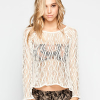 Full Tilt Open Weave Womens Top Cream  In Sizes