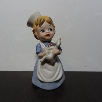 Vintage Ceramic Nurse or Veterinarian Nurse Figurine - Little Girl Nurse in Blue and White Nurses Uniform Holding a Poodle