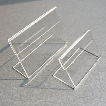 Mini Creative 10pcs Transparent 6x9cm L Shape Acrylic Table Tag School Office Stationery Desk Holder Show Card Holder Sign Label Office & School Supplies