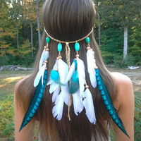 Turquoise Princess Feather headband, native american, hippie headband, bohemian headband, wedding veil, feather veil = 1928596612