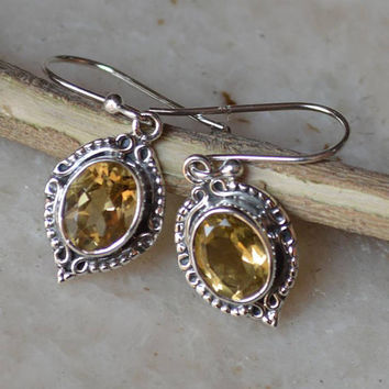 Citrine Earrings,Dangle Earrings November Birthstone,Citrine Jewellery,Gift for Her,Small Earrings,Silver Earring for Women Handmade Jewelry