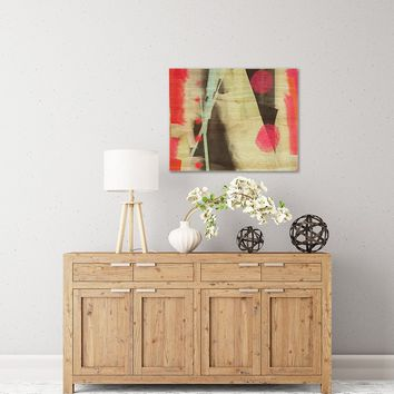 """Rosa Picnic """"Abs-3"""" Pink Teal Abstract Contemporary Painting Watercolor Birchwood Wall Art"""