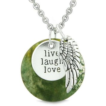 Guardian Angel Wing Live Laugh Love InspiratiMedallion Magic Amulet Green Moss Agate Necklace
