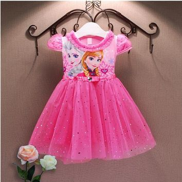 Girls Princess Anna Elsa Cosplay Costume Kid's Party Dress Dresses Sequins pleated lovely baby girls dresses Top quality