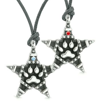 Wolf Paw Super Star Pentacle Powers Love Couples Best Friends Blue Red Crystals Necklaces