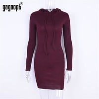 High Street Dresses Autumn Women Drawstring Lace Hooded Long Sleeve Wine Red Mini Dress