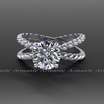 1.50 Carat Forever One Moissanite Engagement Ring, 14K White Gold Criss Cross Solitaire Engagement Ring RE00086.2WFO