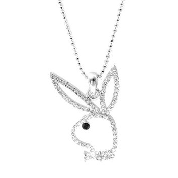 Silver Plated Open Face Play Bunny Boy Necklace