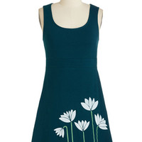 ModCloth Eco-Friendly Short Length Sleeveless A-line Suppose You Pose Dress in Teal