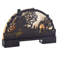 Laser-Cut Wood Plaque Haunted House Scene