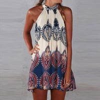 Multi Color Tribal Print Off Shoulder Halterneck Mini Dress