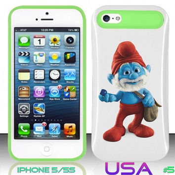 USA Design #5 - IPhone 5 5S Glow in Dark Case # Christmas Papa smurfs 2 @ Cover for IPhone 5 5S