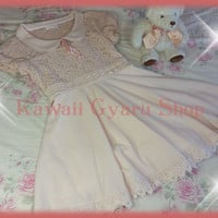 Liz Lisa / My Melody Collaboration Knit Puff Sleeve Lace Panel Dress (NwoT)