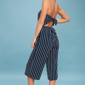 Saltwater and Sun Navy Blue Striped Strapless Midi Jumpsuit