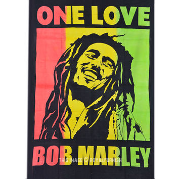 Rasta, Reggae Jamaican Bob Marley Tapestry Wall Hanging Bedspread Bedding on RoyalFurnish.com