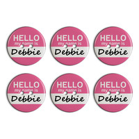 Debbie Hello My Name Is Plastic Resin Button Set of 6