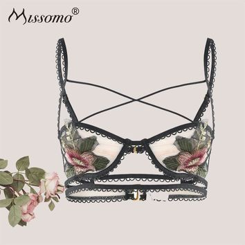 Missomo Women Lace Bra Embroidery Bralette Intimates Push Up Seamless Female Sexy Underwear 2018 New Fashion Lingerie