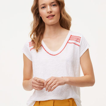 Embroidered Vintage Soft Swing Tee | LOFT