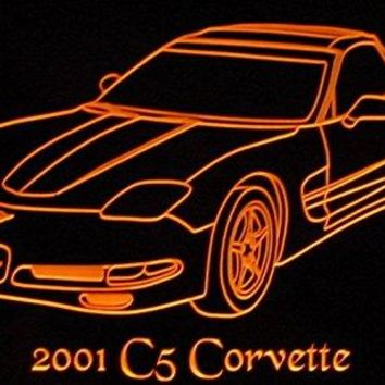 "2001 Corvette C5 Acrylic Lighted Edge Lit 11-13"" LED Sign / Light Up Plaque 01 VVD1 Made in USA"